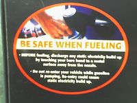 Label on the gas pump